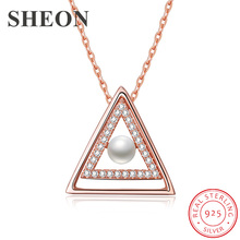 SHEON New Arrival Korean Fashion Triangle Pearl Sterling Silver 925 Necklaces & Pendants With CZ Women Stering Jewelry