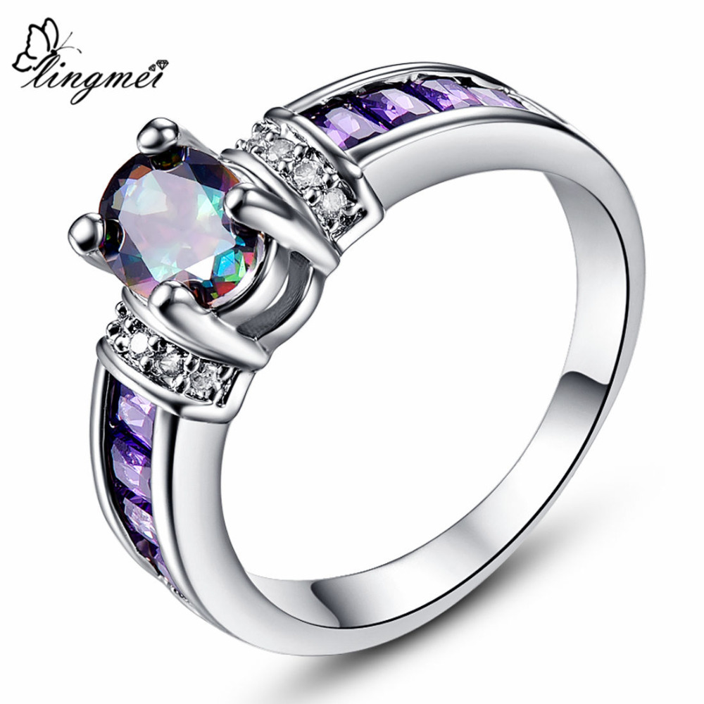 Lingmei Pretty Fashion Wedding Rings Oval Multicolor Zircon Silver & White Gold Color Ring Size 6-13 Anniversary Cocktail Gifts