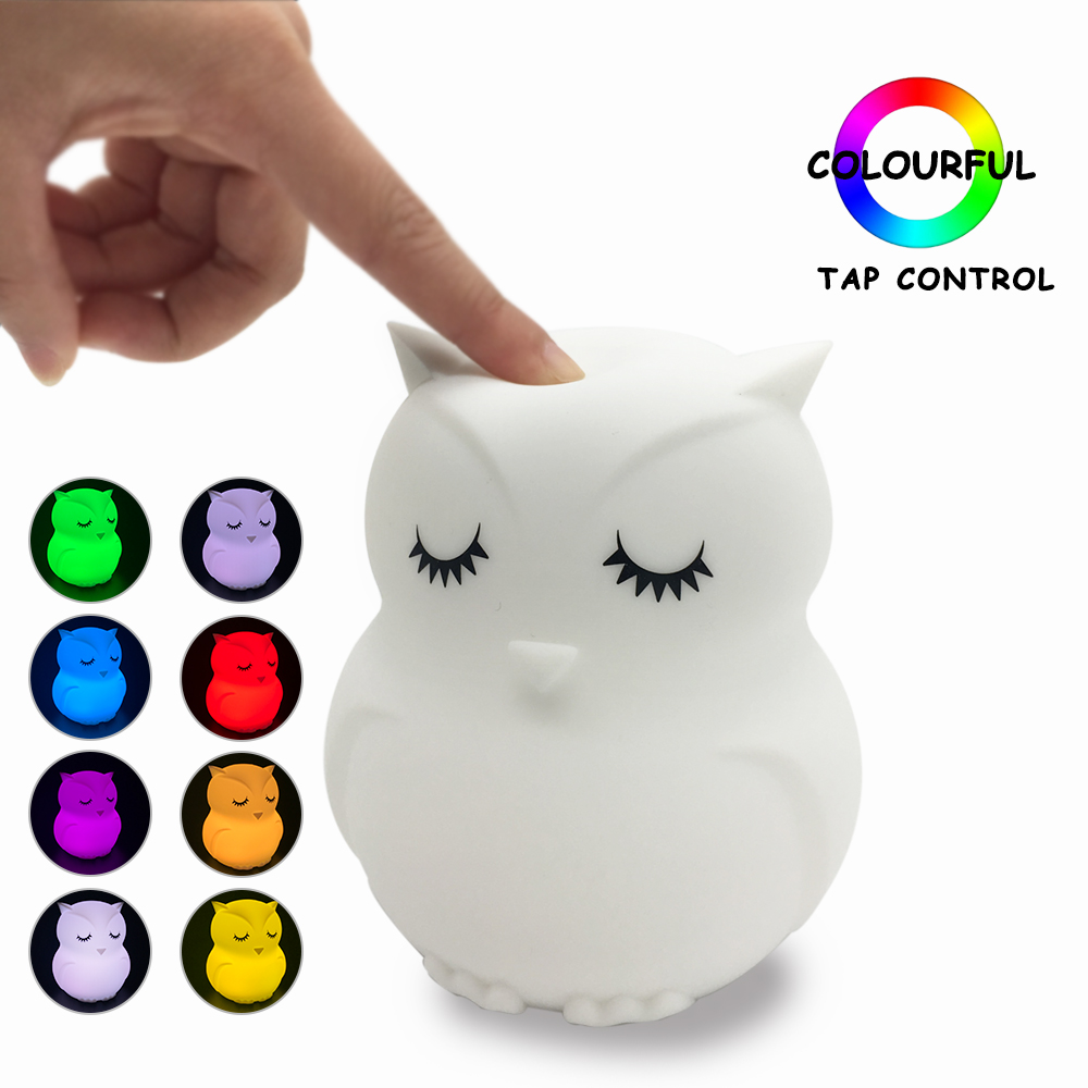 Jiaderui LED Baby Night Light Owl Cartoon Silicone Children Toy Night Light Bedside Table Lamp Gift For Kids 8 Colors Changing cartoon bees night light dc 5v usb rechargeable night lamps touch dimming led table lamp baby children gift bedside lamp