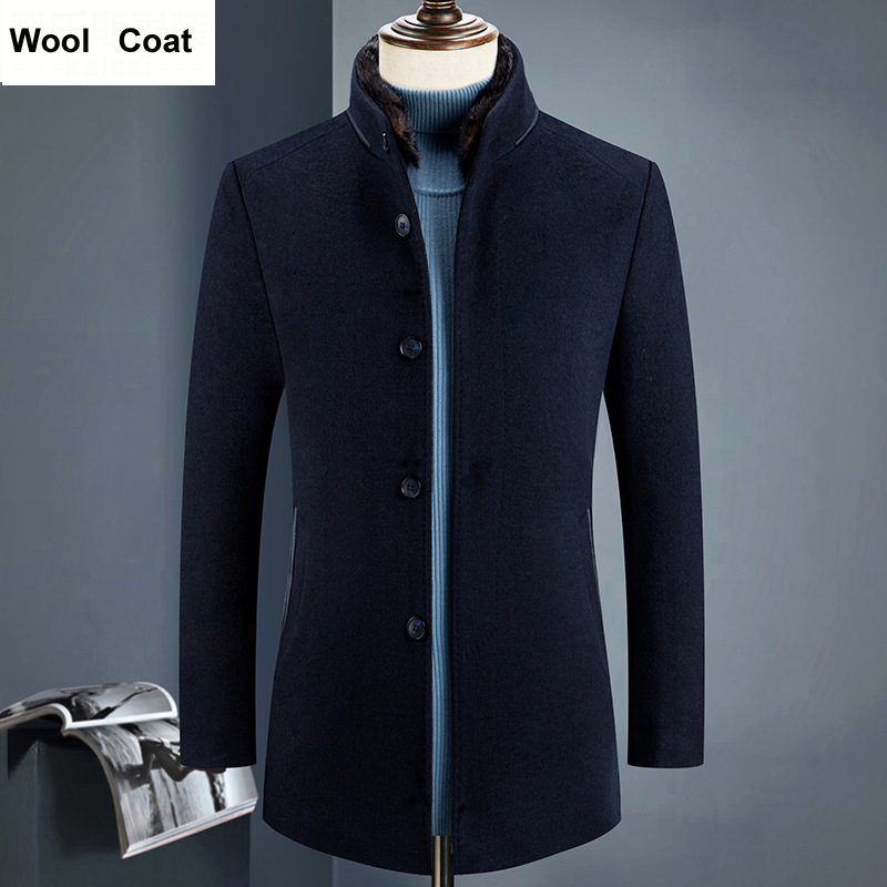 2018 Autumn New Medium Long Thick Men Wool Jacket Winter High Quality Natural Fur Collar Mantel Mann