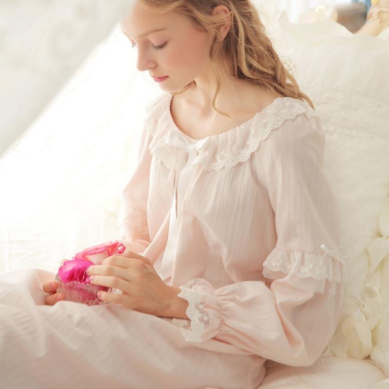 Womens Long Nightgown Pijamas Royal Sleepwear pijamas Cotton Princess Nightdress 3 Color femininos verao Free shipping