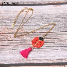 Rttooas Original Handmade Woven Charm Animal Pendant Necklace MIYUKI Beads Tassel for Women Girls