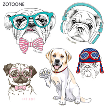 ZOTOONE Cute Dog Stripes Iron on Transfer Patches Clothing Diy Patch Heat for Clothes Decoration Stickers Kid Gift G