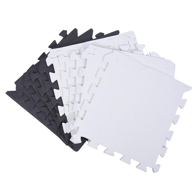 Piece Eva Foam Puzzle Exercise Mat Interlocking Floor Tiles White - Black and white interlocking floor mats