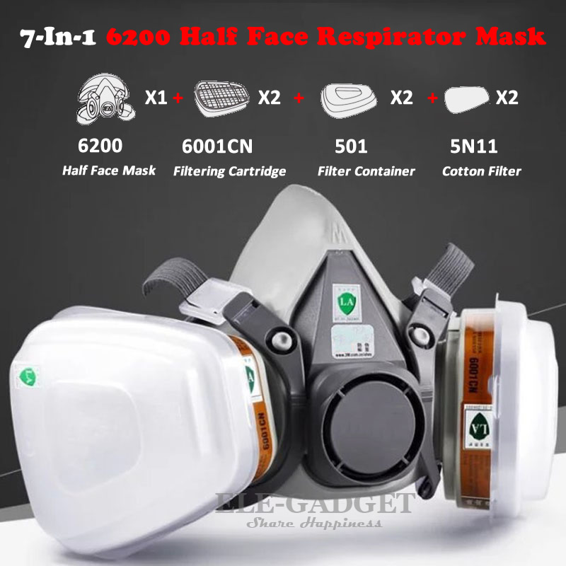 High Quality Industrial 7-In-1 6200 Half Face Mask Gas Respirator Filter For Painting Spraying Work Safety Masks 9 in 1 suit gas mask half face respirator painting spraying for 3 m 7502 n95 6001cn dust gas mask respirator