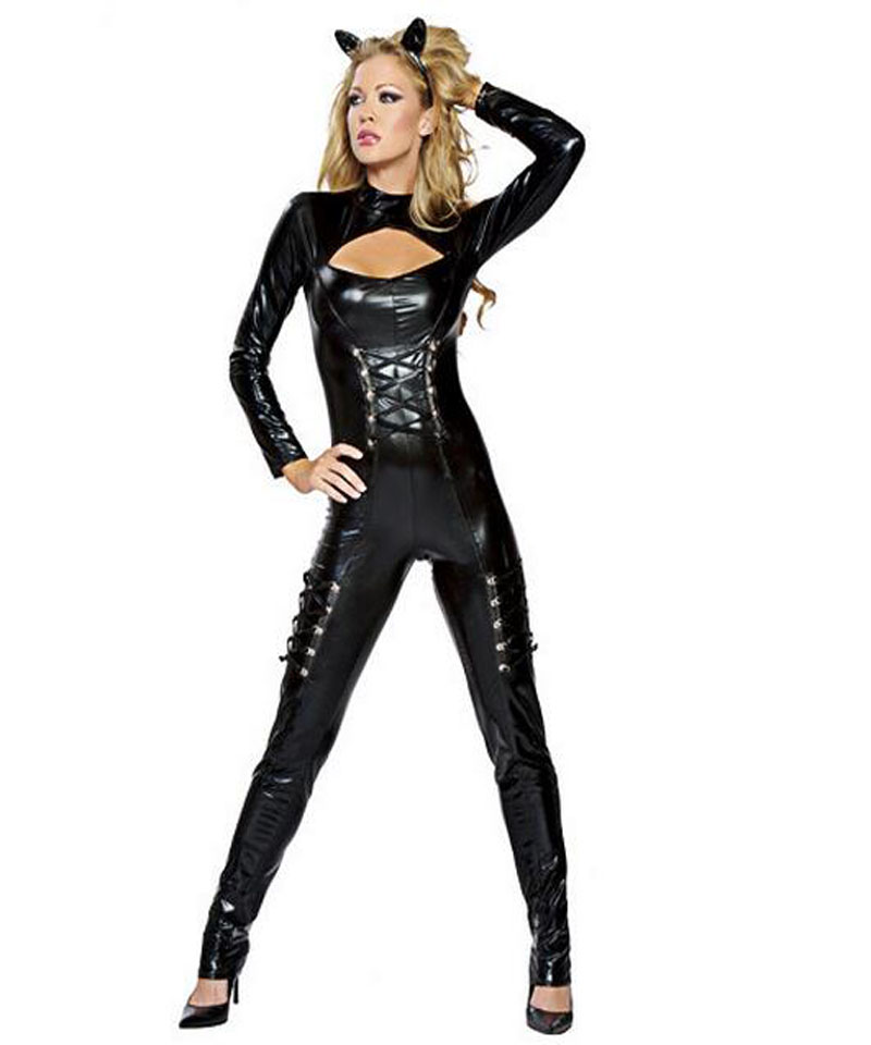 f02194904d5 Women Sexy Halloween Catwoman Costume Cut Out Chest Faux Leather Jumpsuit  Lace-up Bodysuit Animal