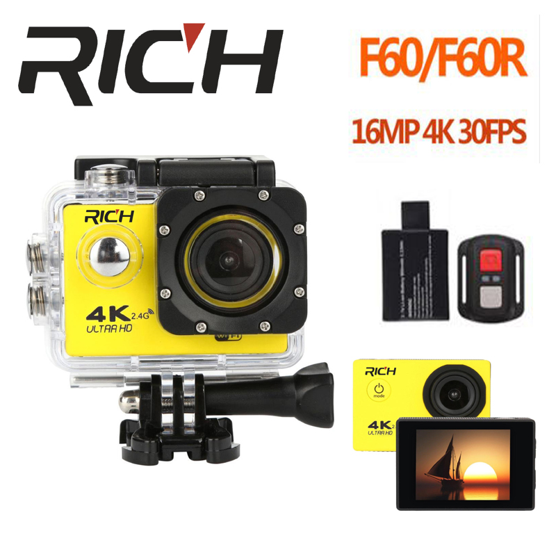 RICH F60 Ultra HD 4K WiFi 1080P Action camera DV Sport 2.0 LCD 170D lens go waterproof pro Hero Style camera Accessories