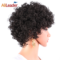 AliLeader Jerry Curly Perucas Cabelo Preto Curto Para Mulheres de Meia Idade, máquina Feita de Resistente Ao Calor Kanekalon Sintético Perucas de Cabelo Afro