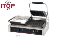 2016 Double Heads Contact Grill Panini Press And Buger Maker With Large Cooking Surface Groove Plate