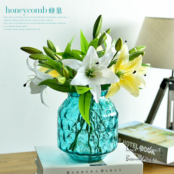 Simple transparent glass vase living room flower arrangement Decoration simulation lily simulation Cherry blossoms