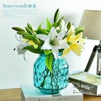 Simple transparent glass vase living room flower arrangement Decoration simulation lily simulation Cherry blossoms