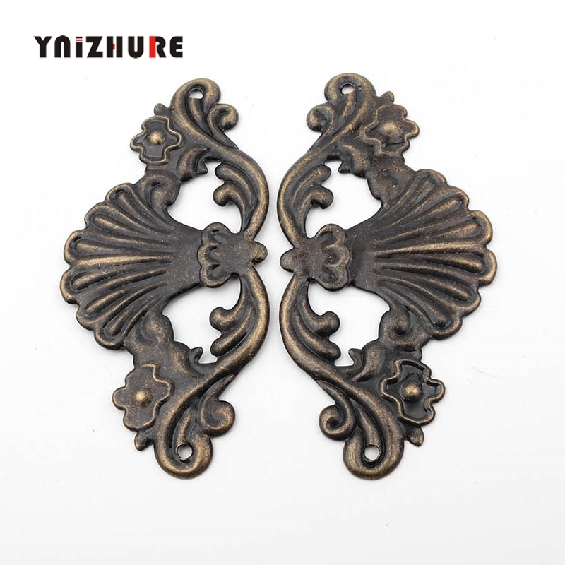 4Pcs Antique Bronze Wooden Jewelry Box Coner Wine Box Protector Embellishment Findings Flower Corners Vintage Cover Hardware
