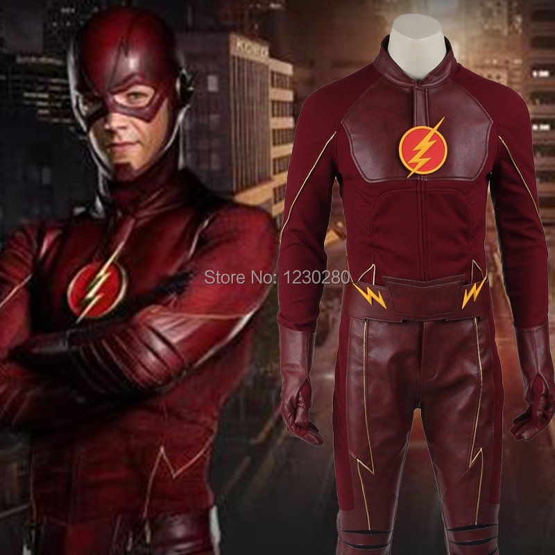 The Flash Cosplay Costume Barry Allen Suit The Flash Season 1 Barry Allen Costume Superhero Outfit Adult Men Tailored