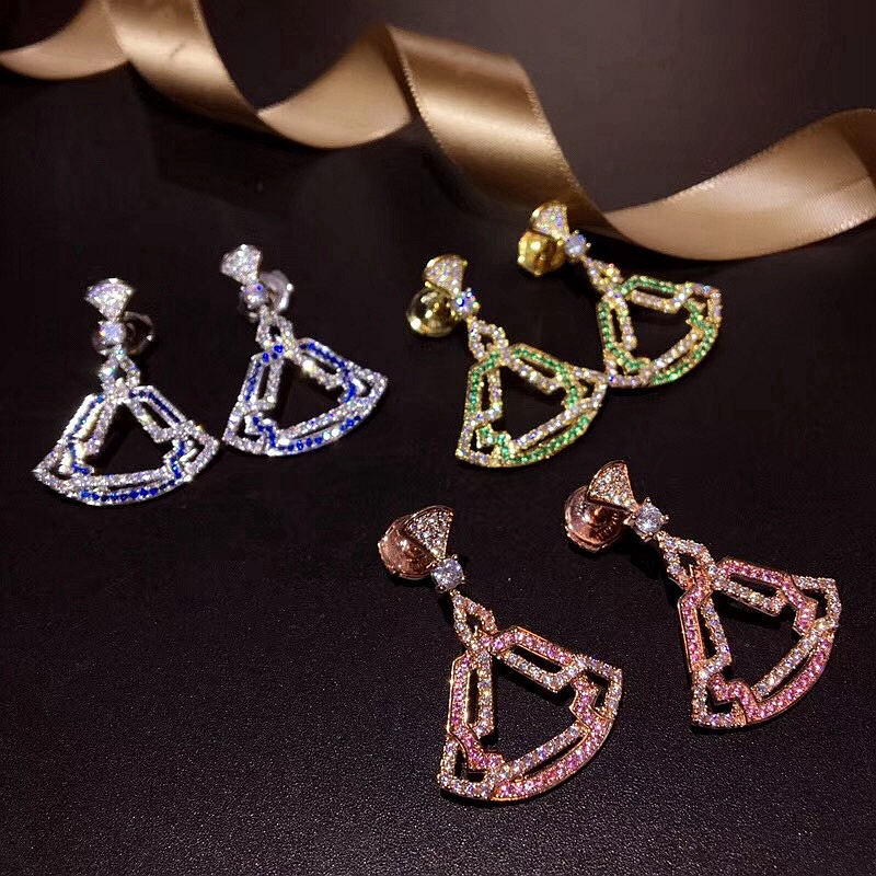XF Hot Colorful Zircon 925 Sterling Silver Hollow Skirt Shell Earring Water Drop Natural Zircon Shell Women Wedding Jewelry