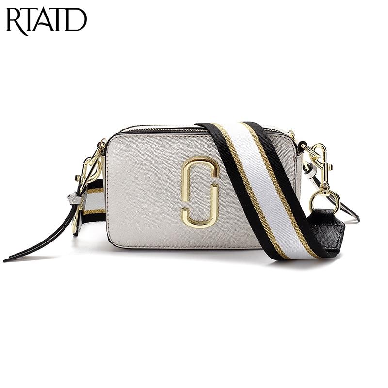RTATD Hot Classic Small Flap Women Bag With Canvas Strap Women PU Leather Handbags Lady Messenger Bag For Female Bolsas M0238