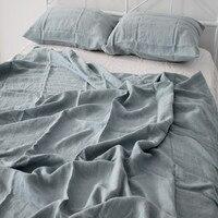 100 Hemp Bedding Set Australian Queen Size 152x203cm Gray Blue Pink Beige White Colors 7 Pcs