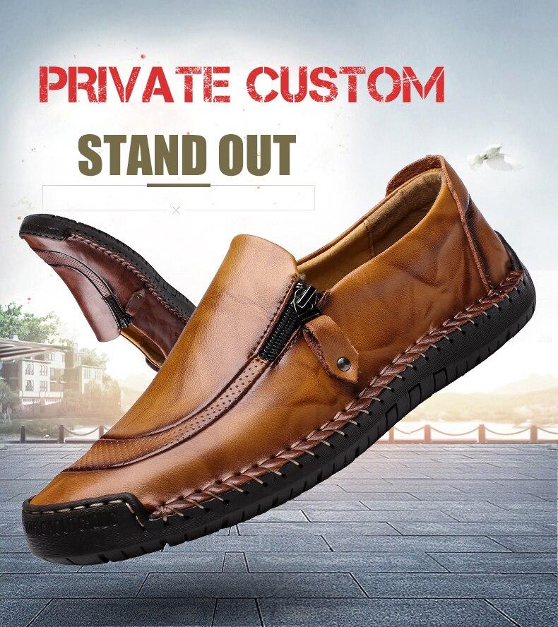 2871fba525a BIMUDUIYU zapatos de cuero genuino hechos a mano para hombre mocasines  casuales de marca de lujo mocasines de moda para hombre Slip on Rubber  Flats Apertura ...