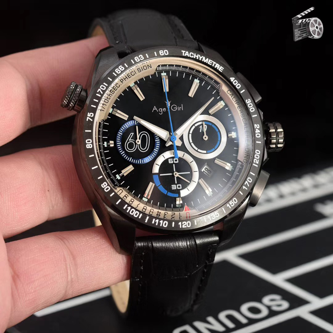 Luxury Brand New Men Chronograph Silver Red Blue Black Leather Stainless Steel Watch Luminous Sport Stopwatch AAA+Luxury Brand New Men Chronograph Silver Red Blue Black Leather Stainless Steel Watch Luminous Sport Stopwatch AAA+