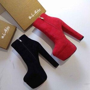 Image 4 - Onlymaker Frauen Plattform Runde Kappe Stiefeletten Stiefel Starke Absatz Schwarz Und Rot Seite Zip Damen Booties Plus Größe US5 ~ US15