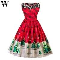 Womail Weihnachten Spitzenkleid Frauen Baum Firefly Karierten Vintage Kleid Neue Schnee Swing Print Retro Kleider Vestidos Mujer Dec15