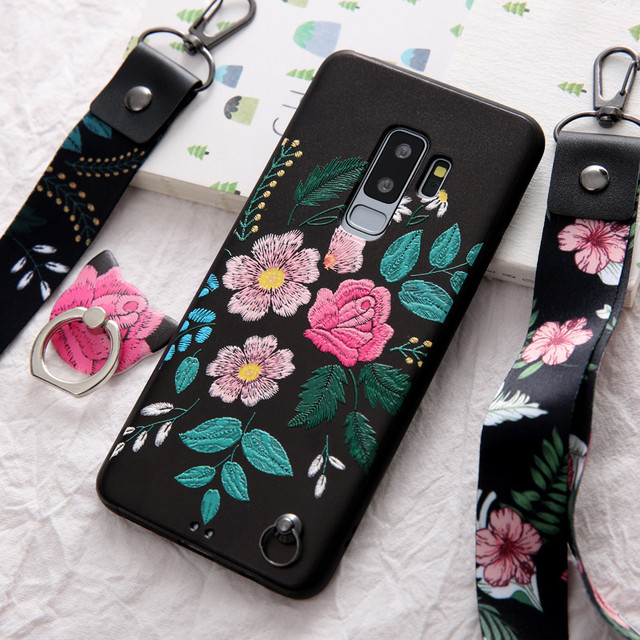 the best attitude d9c43 a0d5e US $8.99 |3D Relief Flower Phone Case For samsung galaxy s8 s9 plus note 8  9 fashion Floral with ring and strap soft silicon Back Cover-in Fitted ...
