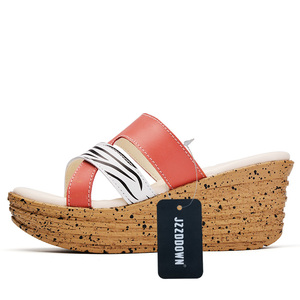 Image 5 - Echt Leer vrouwen Platform Sandalen Flip Flops Slippers Strand Schoenen Dames Zomer Gladiator Hoge Hak Sandalen Casual Vrouwelijke