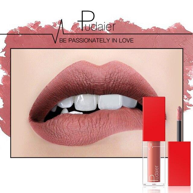 Pudaier 18 צבע מט שפתון נוזלי סט עירום חום שוקולד רוז שפתון גלוס מט שפות עמיד למים