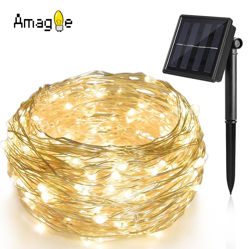 Solar String Lights 10M 100 LED Copper Wire String Fairy Lights Waterproof Christmas Solar Power Lamp For Garden Decoration oris 658