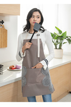 1PC Oxford with Velvet Cloth Kitchen Apron For Baking Women Pinafore With Pocket Chef Cuff Cafe Home Stripes OK 0924