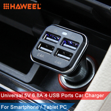 HAWEEL Car Charger For iPhone/LG/Samsung 4 USB Ports Charger Universal 5V 6.8A Mobile Phone Car Charging
