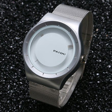 2016 New Arrival PAIDU Fashion Turntable Wrist Watch Stainless Steel Mesh Band Men Woman Lover's Couples Gift elogio masculino