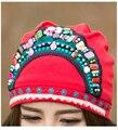 Мексиканский стиль этническая винтаж черный синий красный бисером банданы 2017 женщины осень зима оригинальный хиппи hat skullies бесплатная доставка