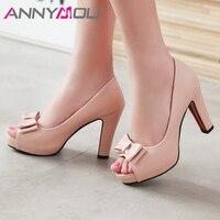 Mejor Zapatos de tacón alto para mujer de ANNYMOLI, zapatos de fiesta con punta abierta y lazo para mujer, zapatos de tacón alto con punta abierta, talla 43 33, Primavera