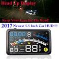 """2017 4E 5.5 """"cabeça Up Display HUD OBD II EOBD Brisa Projetor Auto-adaptativo de Combustível Do Carro etc Parâmetro Display Aviso Excesso de velocidade"""