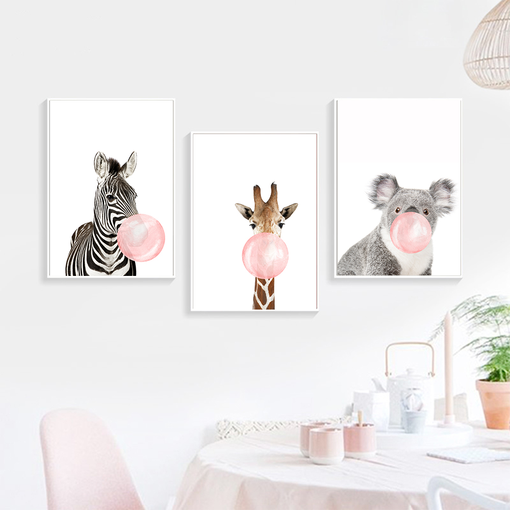 Cartoon Giraffe Zebra Animal Posters Prints Canvas Artwork Portray Wall Artwork Nursery Image Nordic Youngsters Child Room House Decor Portray & Calligraphy, Low cost Portray & Calligraphy, Cartoon Giraffe...