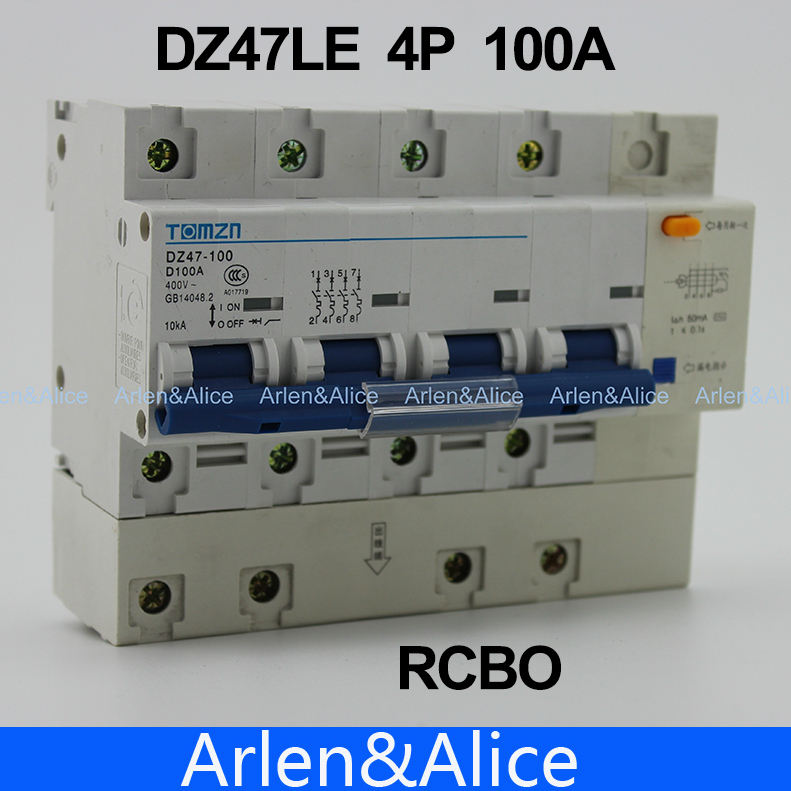 DZ47LE 4P 100A D type 400V~ 50HZ/60HZ Residual current Circuit breaker with over current and Leakage protection RCBO dz47le 3p n 63a 400v 50hz 60hz residual current circuit breaker with over current and leakage protection rcbo
