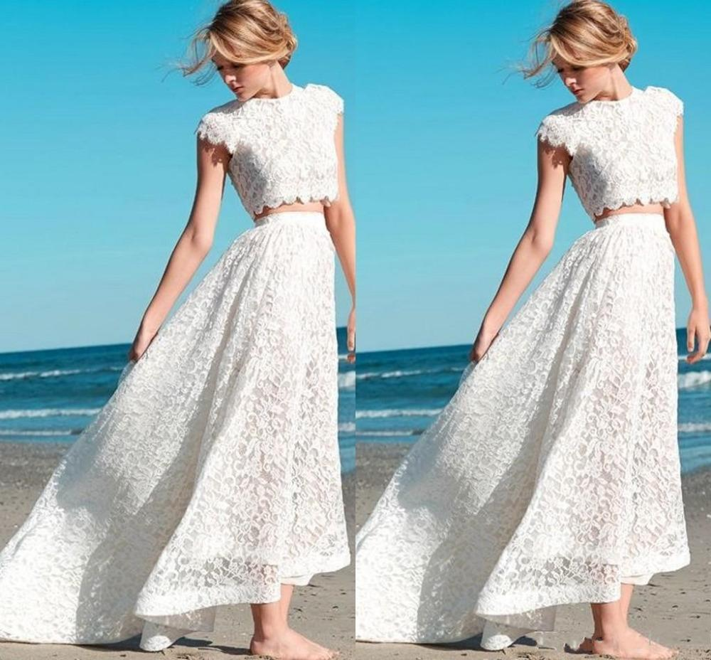 Spring Summer Crop Top Lace Beach Wedding Dresses Sexy Two