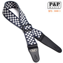 Soft Thick Cool Pattern Cotton 2′ Adjustable Bass Acoustic Electric Folk Guitar Strap with Leather Ends  S008 a-R FREE SHIPPING