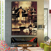 Figure Painting Unframed Canvas for Living Romm or Hotel Decoration Wall Art yiwu factory directly sell