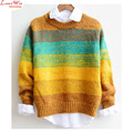 color stitching woman stripes pullovers sweater new brand modern casual tops