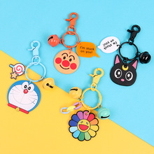 цены 2019 mini size Cheese cat Cartoon cute key ring Anime Silicone Key chains Funny animal keychains key holder kids Christmas gift