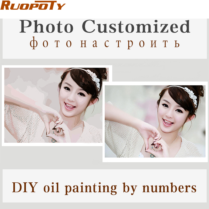 Foto de personalidad personalizada Su propia pintura al óleo DIY por números dibujo lienzo retrato boda familia niños fotos