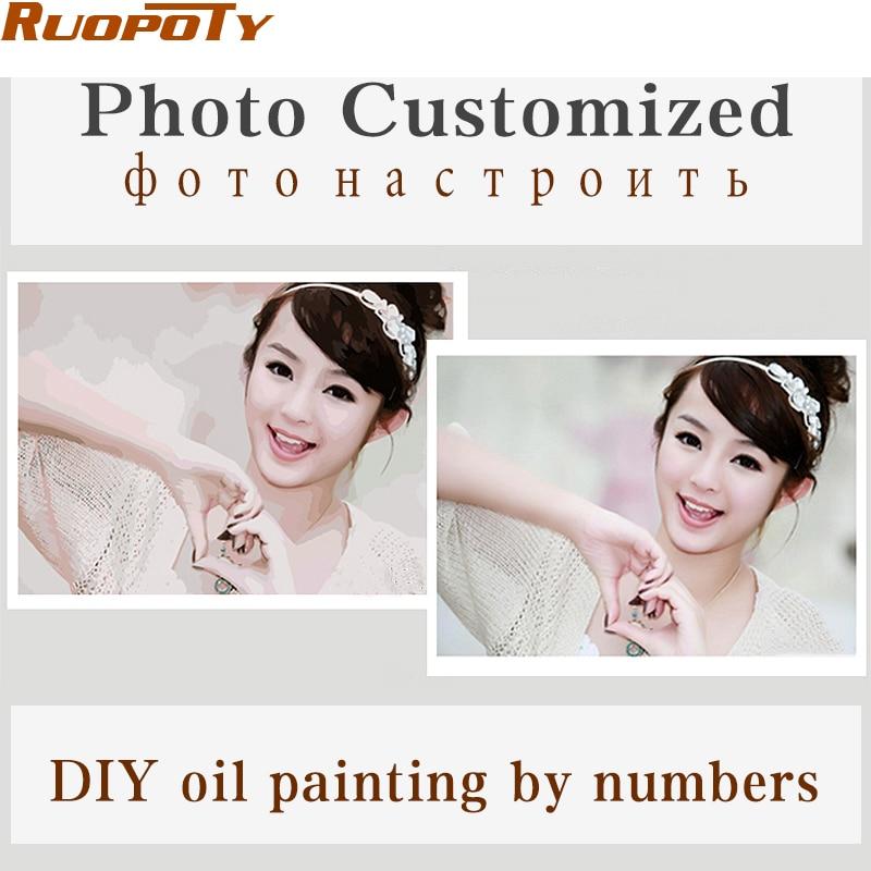 Personalidade Foto Personalizado Sua Própria Imagem Pintura A Óleo DIY Por Números Drawing Canvas Retrato Da Família Casamento Crianças Fotos