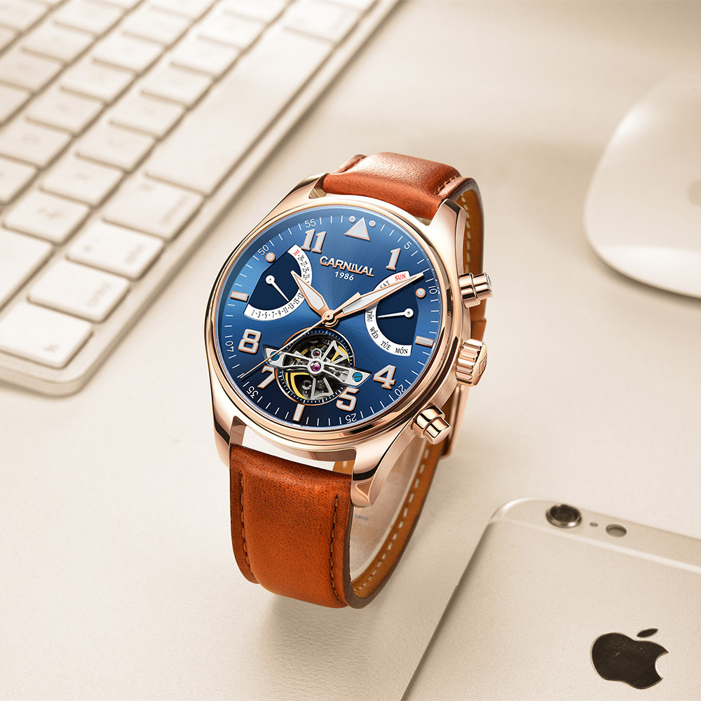 Tourbillon relogio masculino Rose Gold Case Blue Dial Blue Carnival Watches Automatic Men për burra Luksoze Orë Mekanike Moda 2017