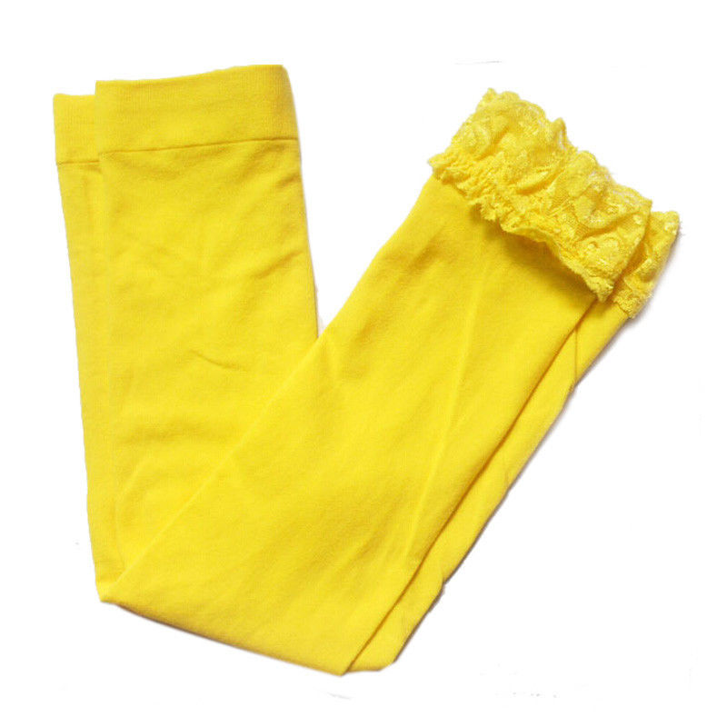 Fashion girls lace leggings children Candy Color Cute Kids Pure Leggings Yellow