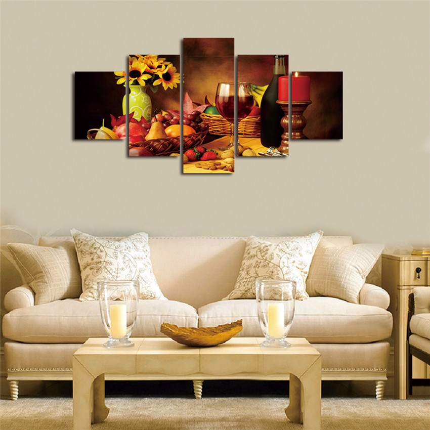 Awesome Canvas HD Printed Modular Painting Frame For Living Room Decor Wall Art  Pictures 5 Pieces Romantic