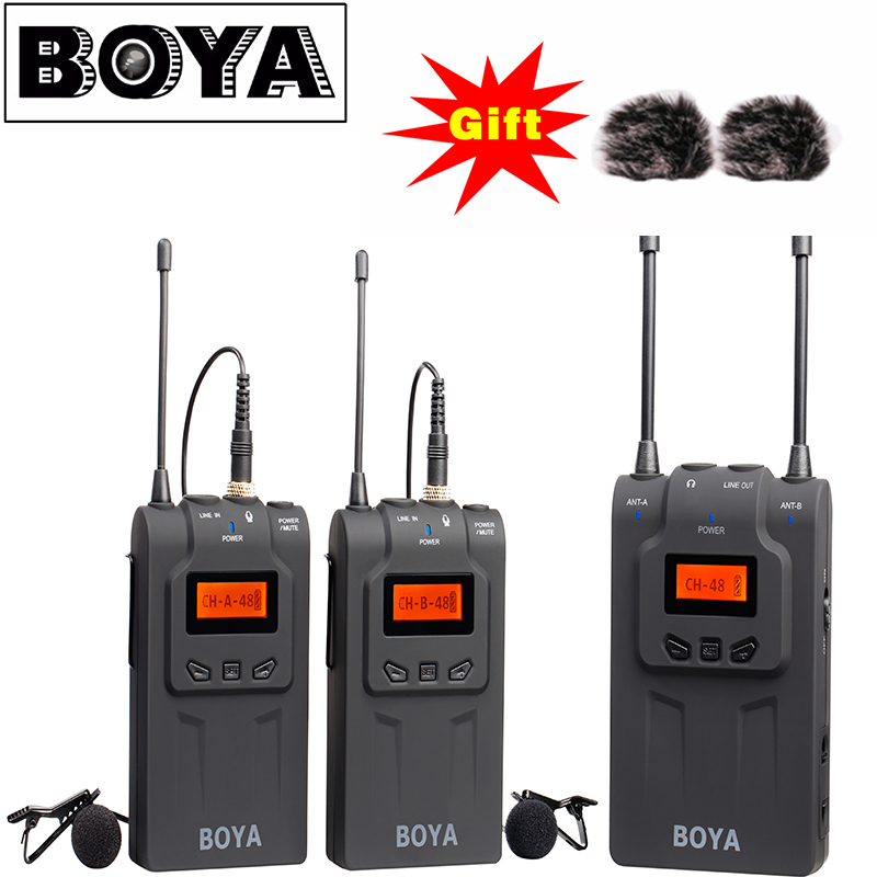 BOYA BY-WM8 UHF Dual Wireless Lavalier Microphone System Lav Interview Mic 2 Transmitters 1 Receiver for DSLR Video Camera boya by whm8 professional 48 uhf microphone dual channels wireless handheld mic system lcd display for karaoke party liveshow