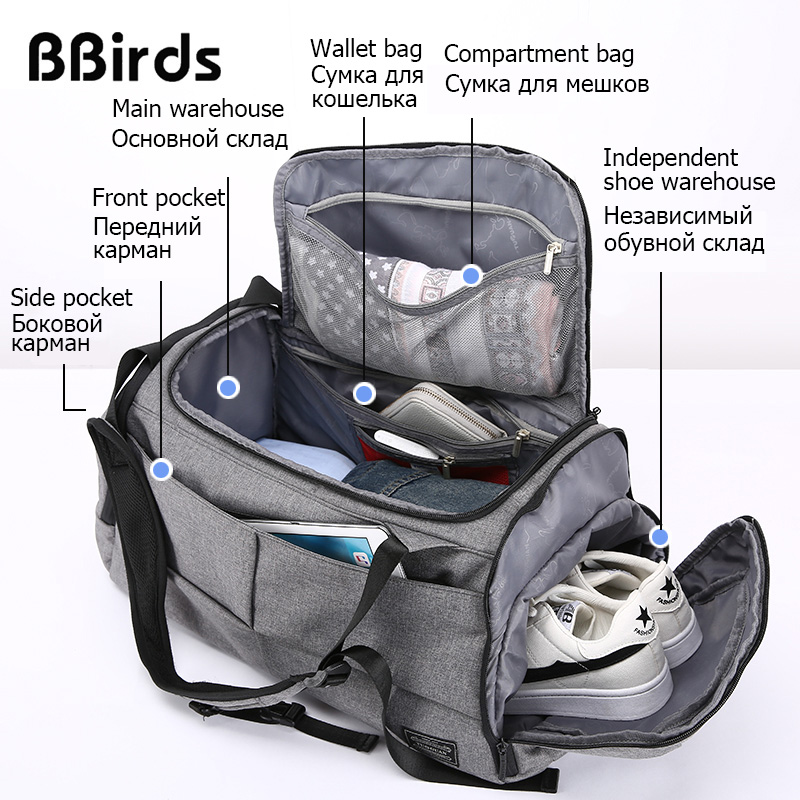 BBirds Multifunction Men 15 inch Laptop Backpacks Hand Luggage Travel Bag With Shoes Pocket Large Capacity Casual Duffle Nylon