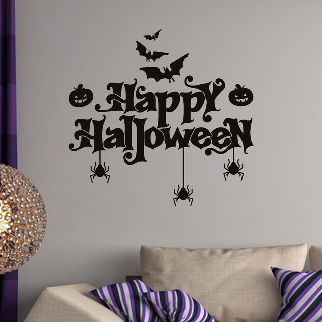 Happy Halloween Quoted Bats Pumpkins Spiders Wall Stickers Vinyl - Vinyl wall decals home party