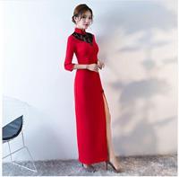 Rosso Tradizionale Cinese Vestito Cheongsam Moderno Qipao Lungo Nuovo Sexy Stile Orientale Abiti Party Dress Robe Orientale 2017 Donne